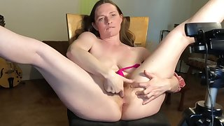 Ginger Milf Soaks Chair In Squirt Added to Boobs Milk