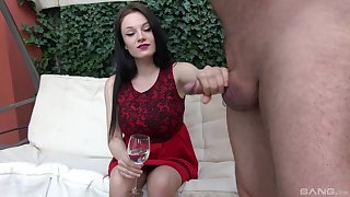 Pretty brunette chick takes an elder man's dick in her hands