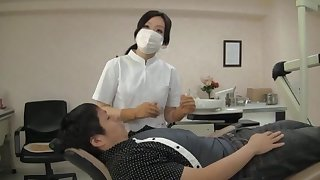 Naughty Japanese dentist enjoys having sex with her lucky client
