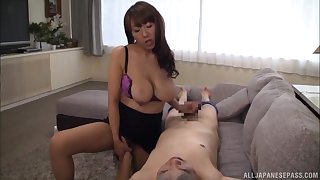 Intense Japanese cam porn shows the busty wife handling the cock like a pro