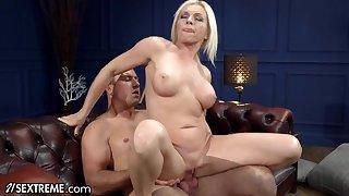 Extreme Sucking & Fucking Hot Mature Blonde - Big fake tits