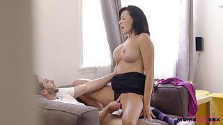 Deep ramming the busty stepmom while she screams