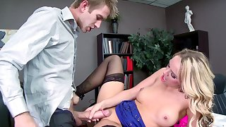 Office milf needs the new guy to fuck her more than enough