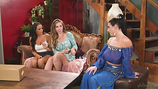 after sensual dance Angela White and Lena Paul enjoy lesbian threesome