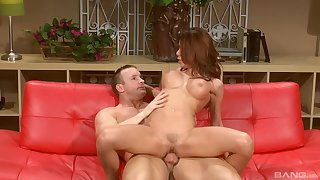 Top milf rides until the last drop on her clit and belly