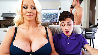 Busty stepmom interested almost affinity schoolboy's dick
