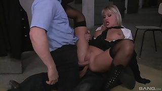 Milf gets laid with two unseeable men in crazy role play