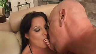 Kinky cougar with fake pair being pounded doggy style in a shallow