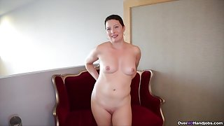 Short haired ignorance wife strips and drops on her knees be expeditious for a handjob
