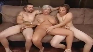 Chubby granny coupled with two horny satyrs