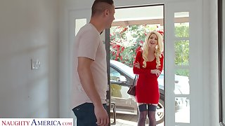 Lady in red Kit Mercer fucks her neighbor and that chick got some big bosom