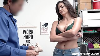 Bosomy shoplifting milf Becky Bandini gets punished right on the table