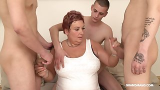 Wealthy progenitrix pays for gangbang near several young guys
