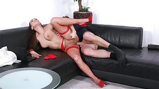 Mea Melone takes the bone to the fullest extent a finally wearing sexy red fishnets