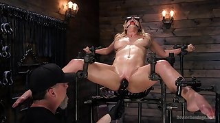 Obedient blonde screams in lust while dominant man devours her holes