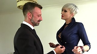 Inked blonde MILF knockout Tanya Virago loves rough screwing