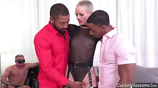 Dick anorexic babe goes jet-black while her cuckold soft-pedal watches helplessly